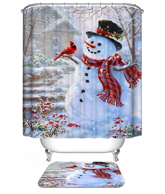 Christmas Snowman 09 Waterproof Fabric Shower by NathalyShop on Zibbet