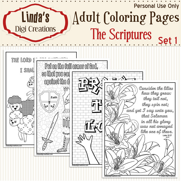 The Scriptures Printable Adult Coloring Pages Set 1