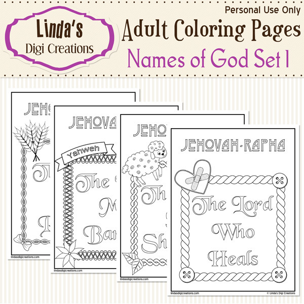 Names Of God Printable Adult Coloring Pages Set 1