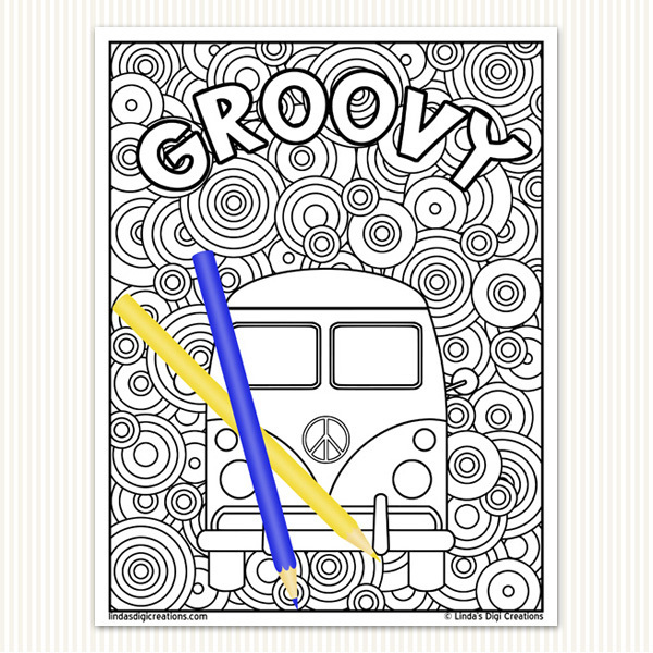 70's Style Printable Adult Coloring Pages