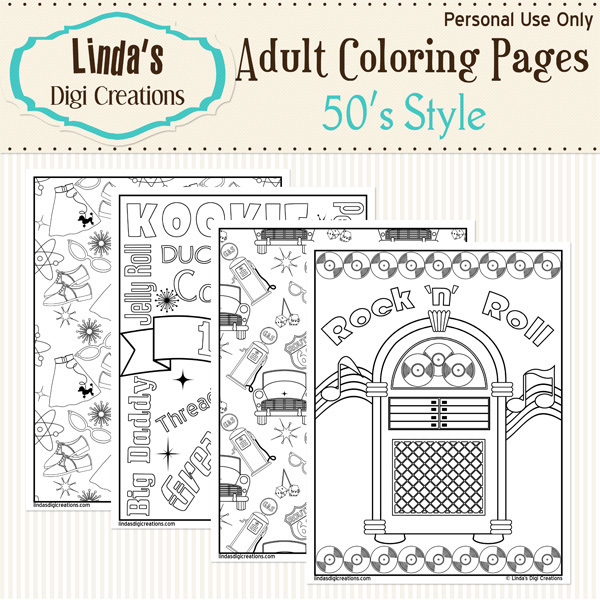 50's Style Printable Adult Coloring Pages