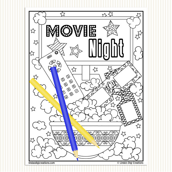 Movie Night Printable Adult Coloring Pages