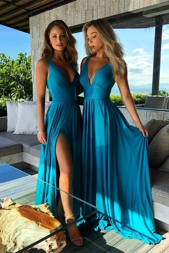 elegant v-neck blue formal party dresses, chic soft evening gowns side split for