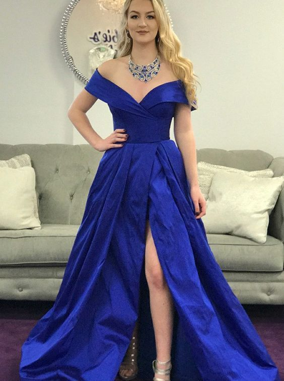 A-Line Off-the-Shoulder Turquoise Satin Pockets Prom Dress with Split