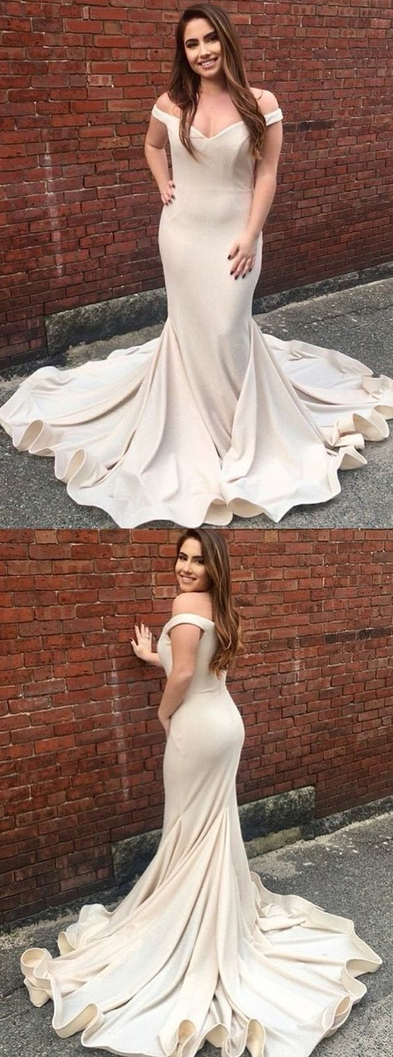 mermaid off shoulder champagne prom evening dresses with court train