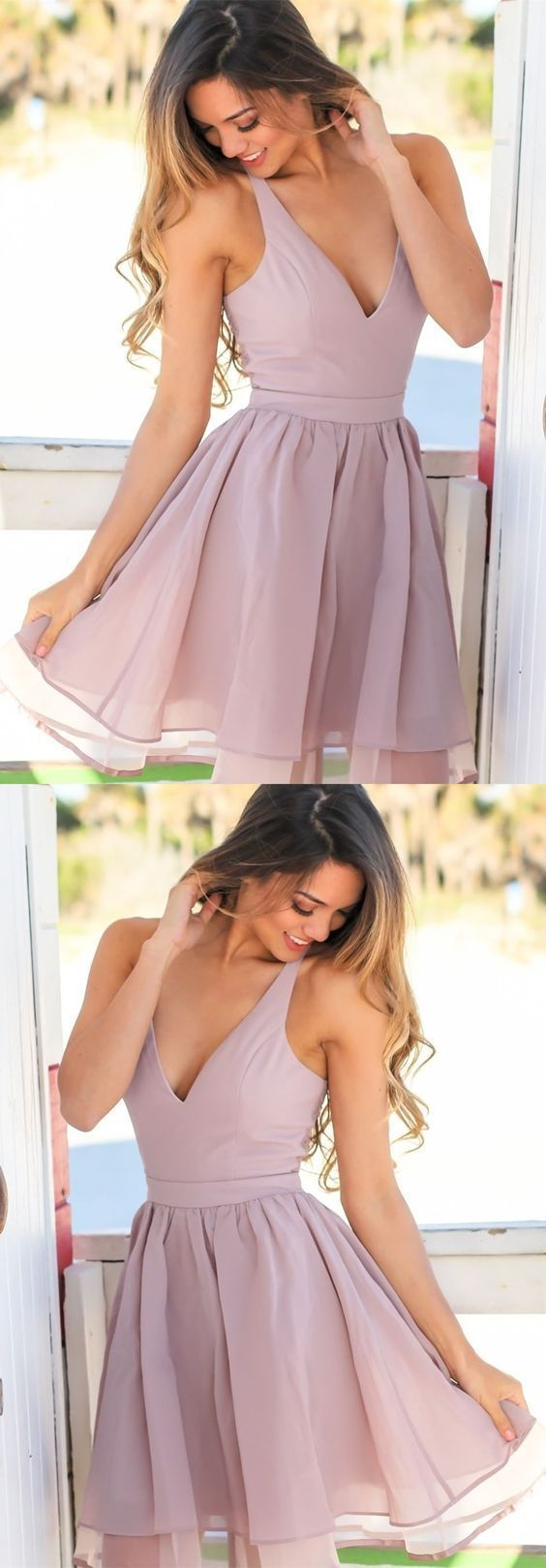 A-Line V-Neck Short Lavender Chiffon Homecoming Dress