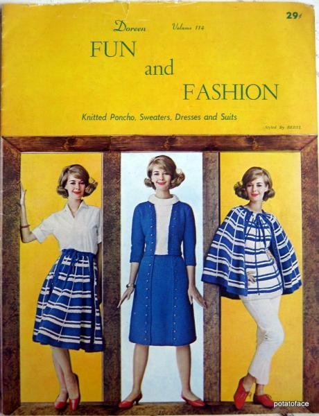 Fun and Fashion, Knitted Poncho, Sweaters, Dresses and Suits Vintage pattern