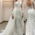 Long Sleeves Wedding Dresses,Sheath Wedding Dress with Lace, A Line Wedding