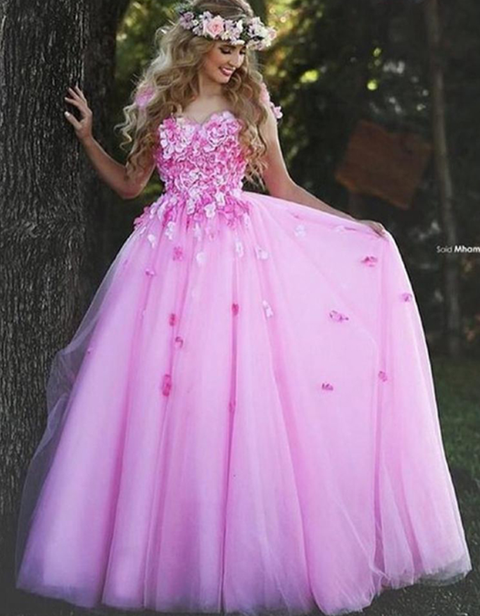 Pink Christmas Prom Dresses Ball Gown Flower by prom dresses on Zibbet