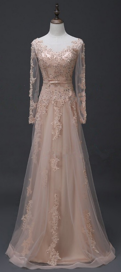 Charming Prom Dress, Elegant Prom Dresses, Long Sleeve Prom Dress, Tulle Evening