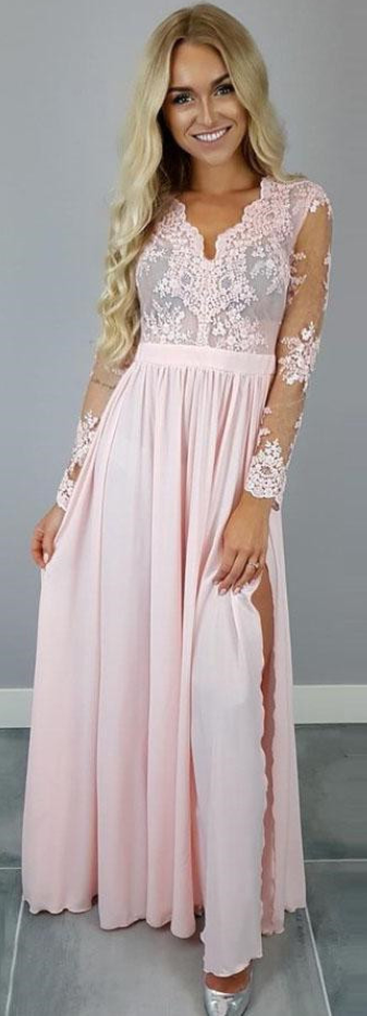 Long Sleeves Pink Long Prom Dress with Slit