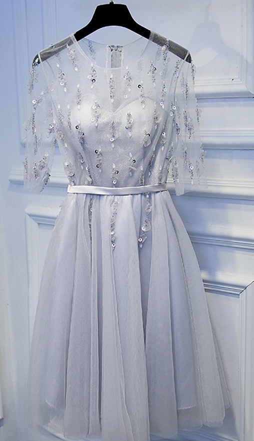 Simple Short Grey Sequined Homecoming Party Dress With Sleeves