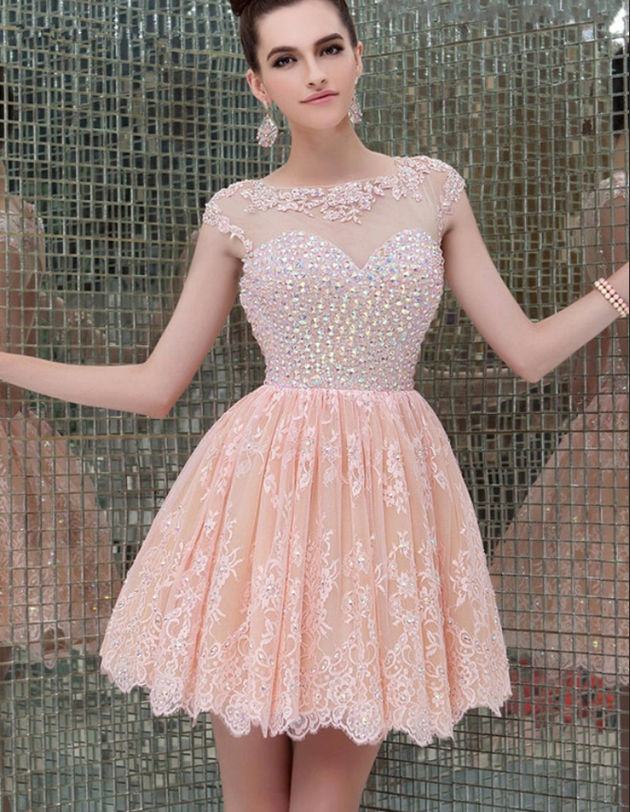 Cap Sleeve A-Line Lace Homecoming Dresses by prom dresses on Zibbet