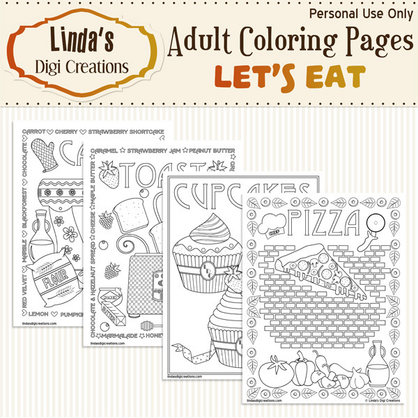 Let's Eat Printable Adult Coloring Pages