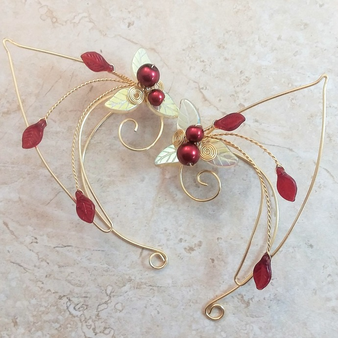 f3a678e49 Red Gold Elf Ear Cuff Wraps Elven Ear Cuffs by Thyme2dream on Zibbet