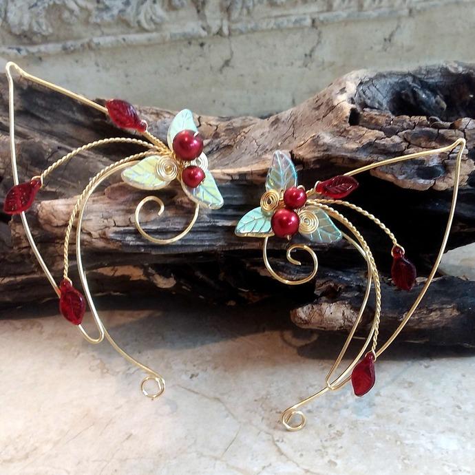 Red Gold Elf Ear Cuff Wraps Elven Ear Cuffs Fairy Jewelry