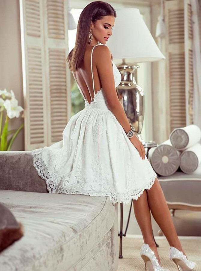 H73 Lace Backless Short/Mini Homecoming dress ,Homecoming Dresses,Graduation