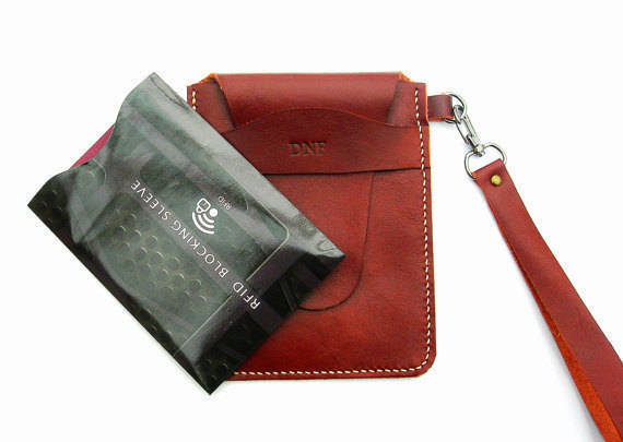 Leather passport holder with RFID cover. Leather passport case. passport holder.