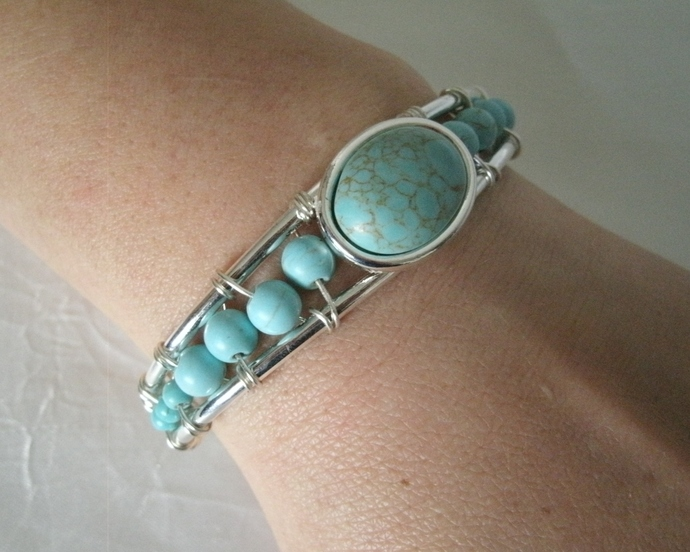 Turquoise Bracelet, wire wrapped