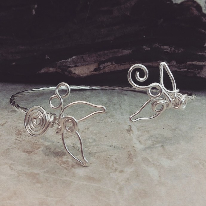 Sculpted Wire Bracelet Arm Cuff Mermaids Tale