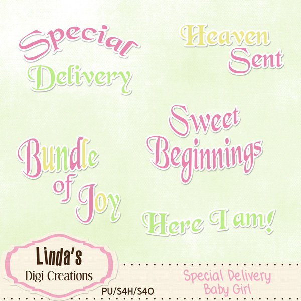 Special Delivery Baby Girl (Digi Scrap Kit)