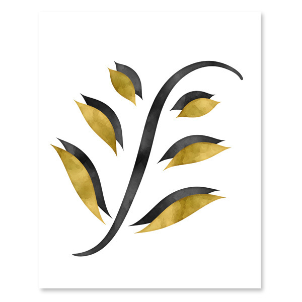 Black & Golden Yellow Foliage Set - Printable wall Art