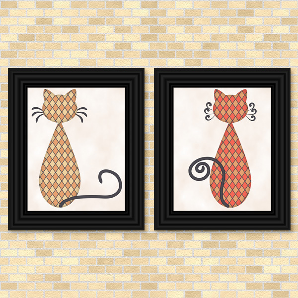 Cats - Diamond Pattern Set - Printable Wall Art