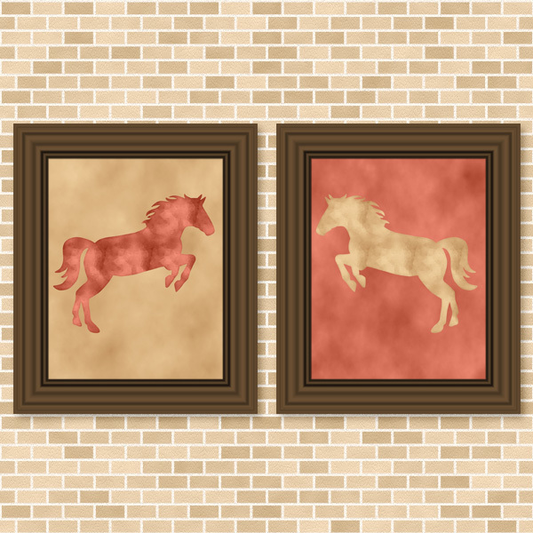 Coral & Golden Beige Horse Set - Printable Wall Art