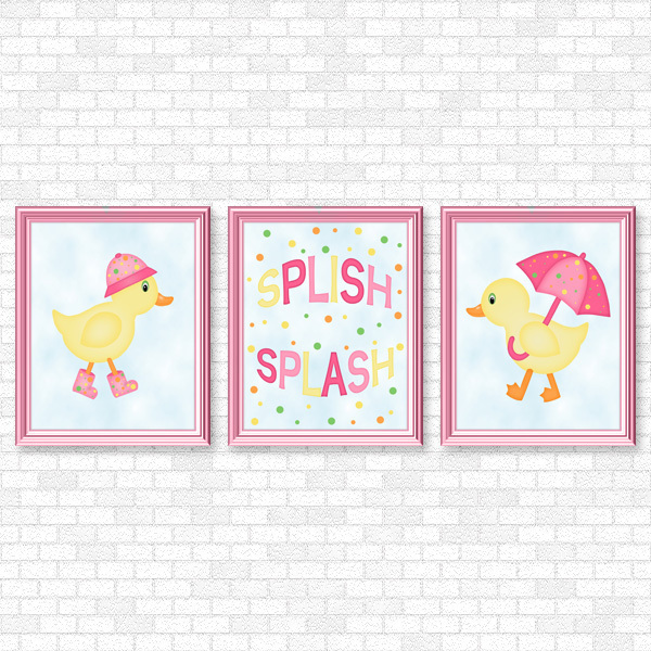 Ducks - Pink Set - Printable Wall Art
