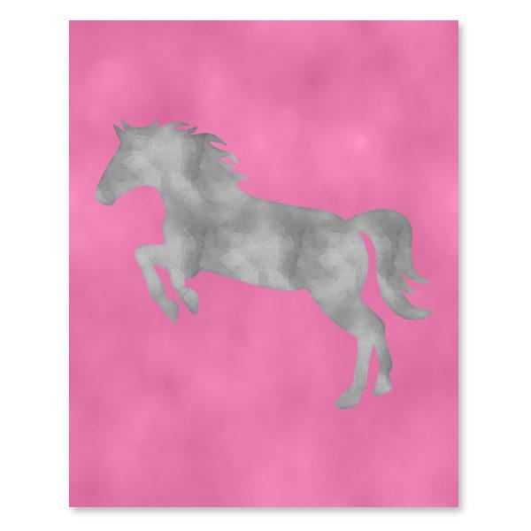 Pink & Gray Horse set - Printable Wall Art