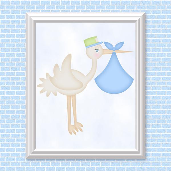 Stork (baby Boy) Printable Wall Art