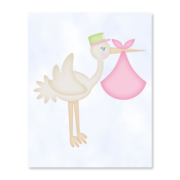 Stork (Baby Girl) Printable Wall Art