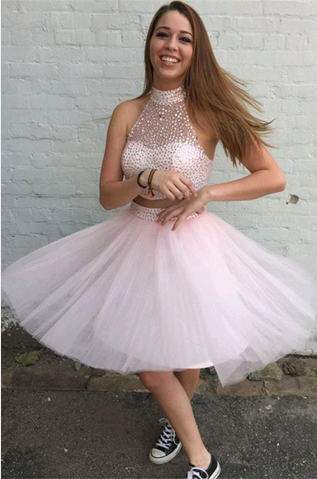 O-Neck Beading A-Line Homecoming Dresses,Short Prom Dresses,Cheap Homecoming