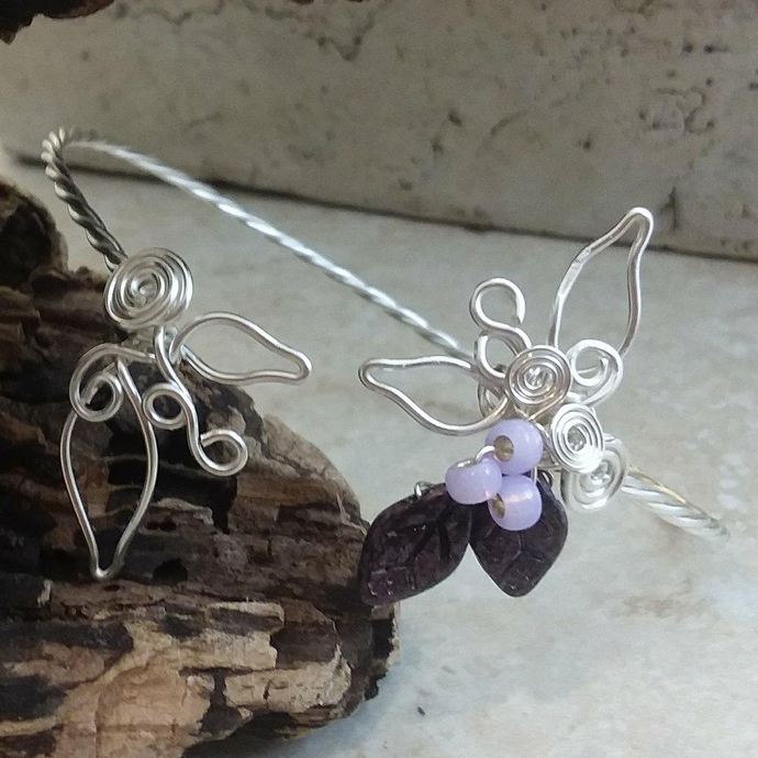 Sculpted Wire Cuff Bracelet Leaf and Berries Woodland Fairy