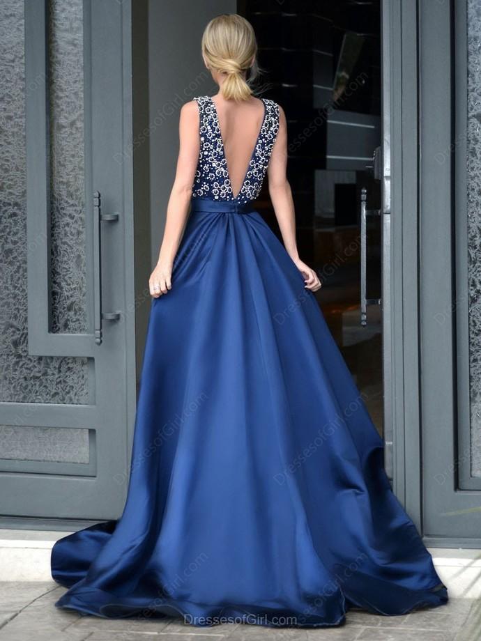 Glamorous A-Line Deep V-Neck Sweep Train Royal Blue Long Prom Dress with Beading