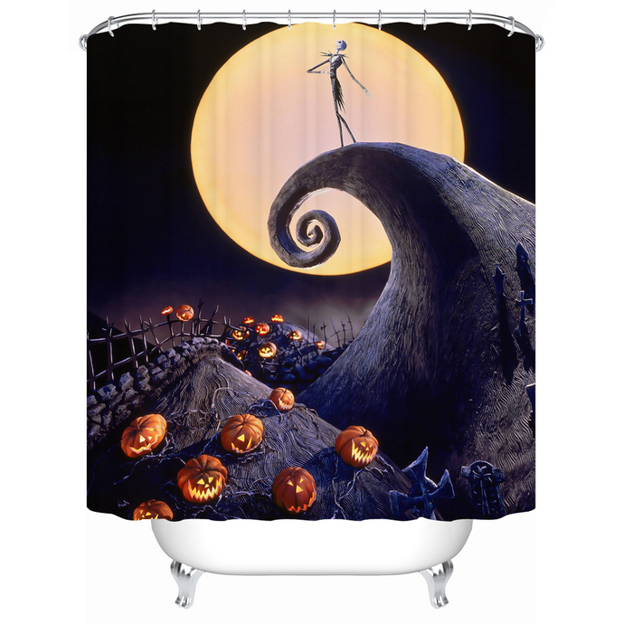 happy halloween nightmare before christmas 06 waterproof fabric shower curtain