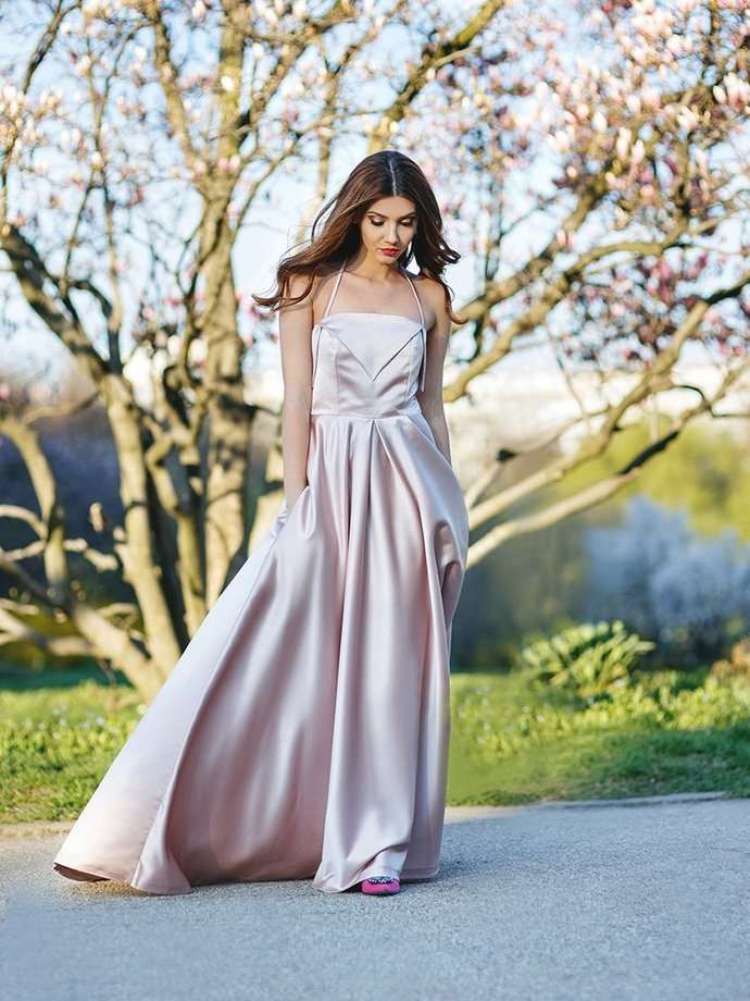 Elegant Halter Satin Long Prom Dress,Sweep Train Evening Dress