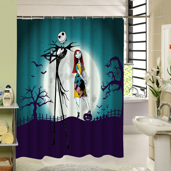 happy halloween nightmare before christmas 08 waterproof fabric shower curtain