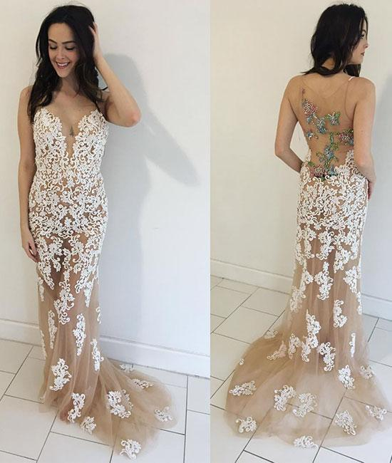 38158a9a7a1 CHAMPAGNE TULLE LACE MERMAID LONG PROM DRESS