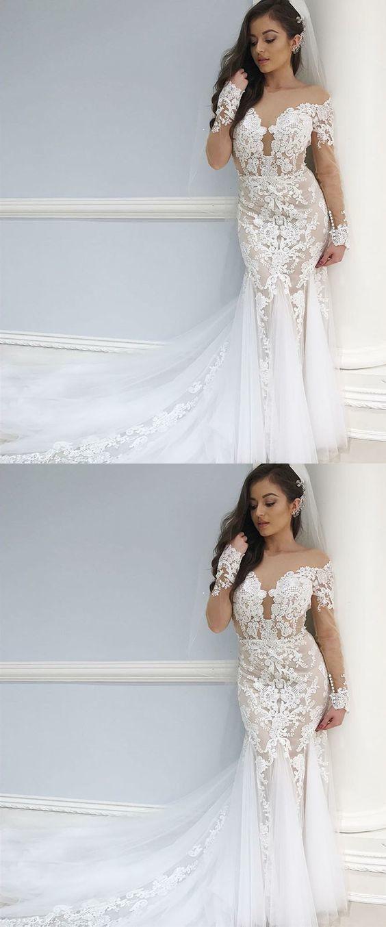Mermaid Bateau Long Sleeves Long Wedding Dress with Appliques