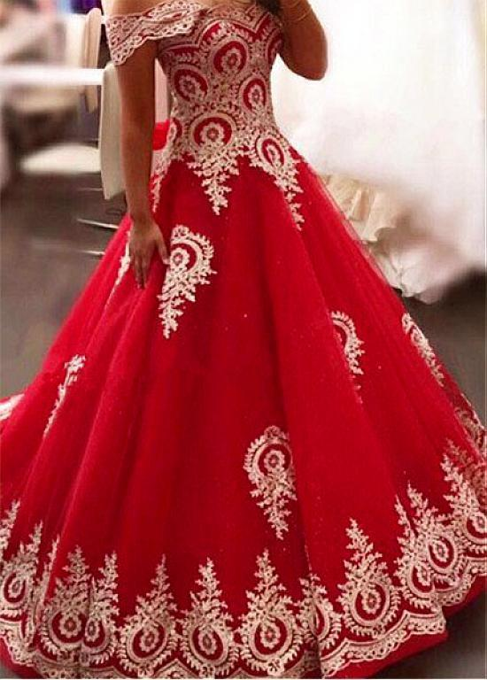 Red Tulle Off-the-shoulder Neckline A-line Prom Dress With Lace Appliques