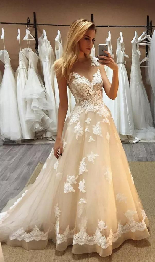 Champagne Lace Applique Prom Dress, Sheer Neck Sleeveless Sweep Train Prom