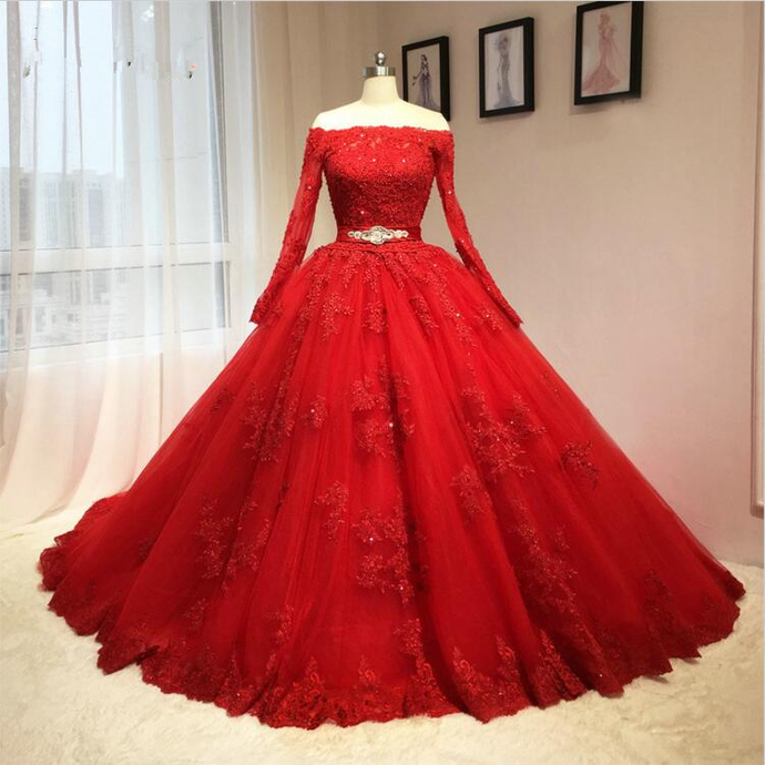 Red Evening Dress,Lace Tulle Long Prom Dress