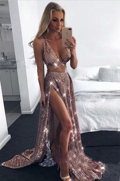 2018 Charming Sexy Sequin Sparkly Simple Black Split Long Fashion Prom Dresses