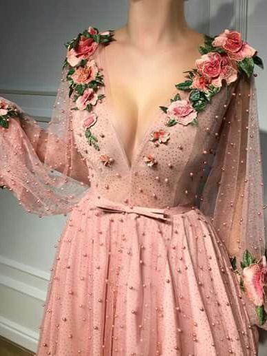 Chic A Line V Neck Prom Dress Modest Cheap Long Pink Prom Dress