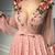 Chic A Line V Neck Prom Dress Modest Cheap Long Pink Prom Dress