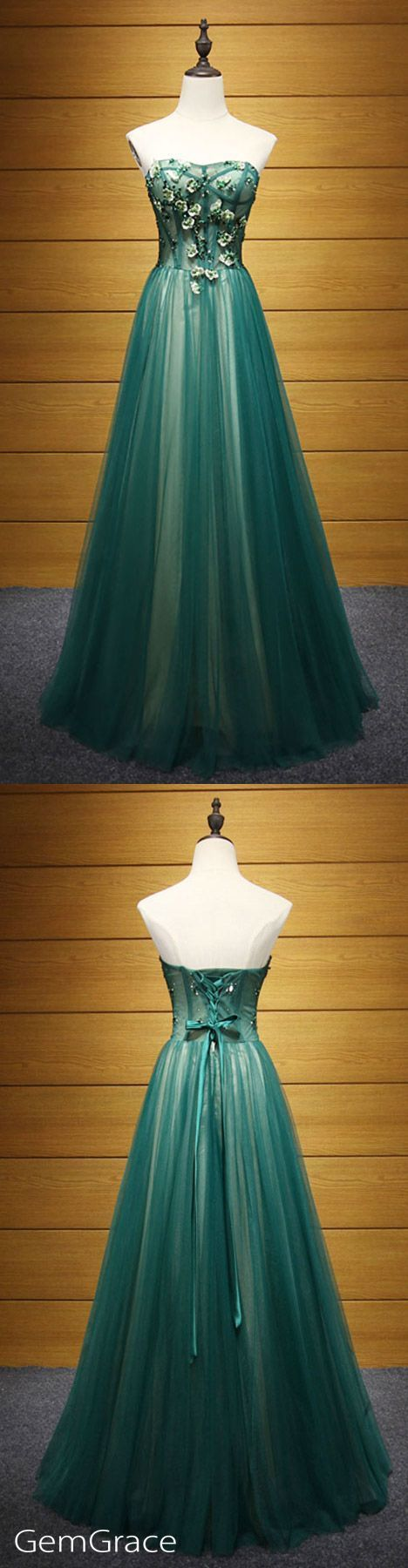 Elegant A-line Sweetheart Floor-length Tulle Prom Dress With Beading Dress