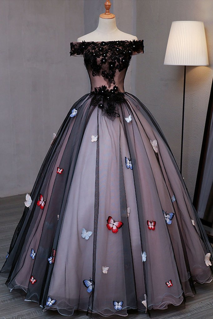 Princess Black Tulle Off Shoulder Long Evening Dress with Butterfly Appliques,