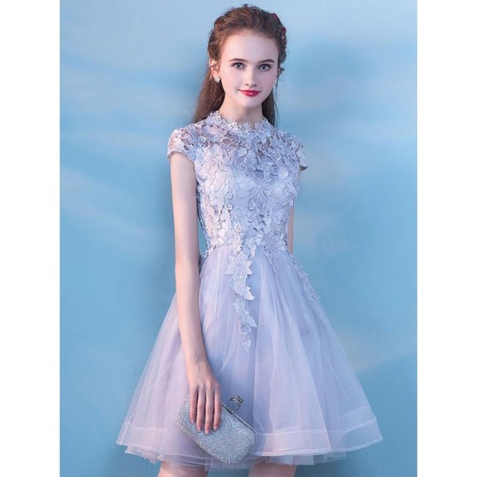 A-Line Prom Dresses, High Neck Prom Dresses, Short Prom Dresses