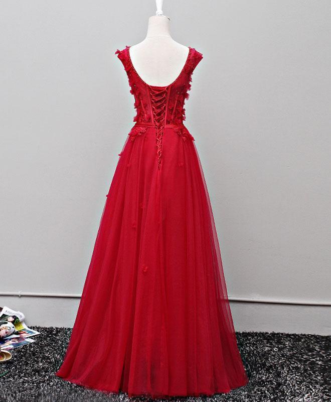 Custom made v neck tulle long prom dress, evening dres